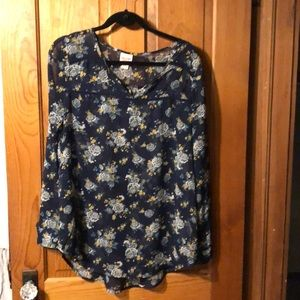 MOSSIMO large navy floral sheer blouse